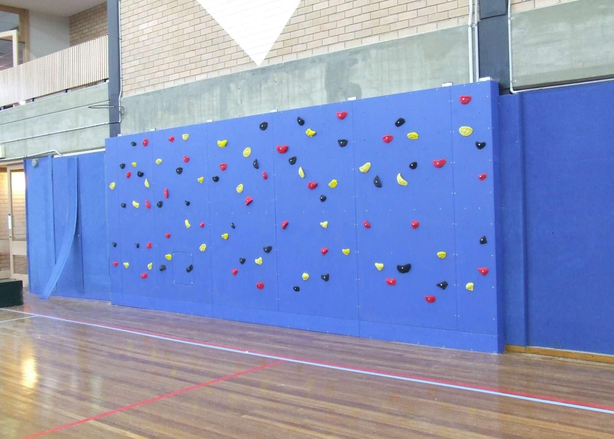school gym climbing wall